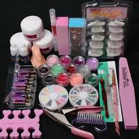 Nail Art Kits Acrylic Powder Glitter Nail Art Manicure Tool Tips Brush Set Lots
