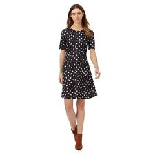 Red Herring Kitty Cat Stampa Fit & Flare Skater Dress Black & White Tea 16 NUOVO CON ETICHETTA