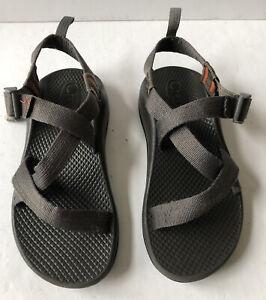 Youth Kids Chaco Sport Sandals Size 3 Gray Orange Trim