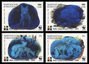 Kyrgyzstan WWF Fox 40th Anniversary 4v with Ovpt 2001 MNH SG#240-243