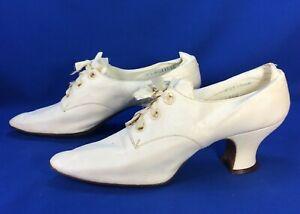 Women's Antique Kid Leather Shoes 5.5 A Edwardian Cream/White Wedding Heels