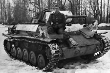 WW2 photo Non-commissioned officer Hans Hoff on a captured Soviet T-70 tan #1060