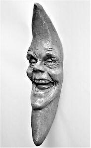 """Classic 9"""" Folk Art Moon Man, Handmade Wall Sculpture, a Claybraven Original"""