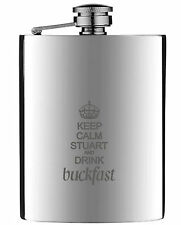 Personalised Engraved BuckFast Hip Flask 6oz