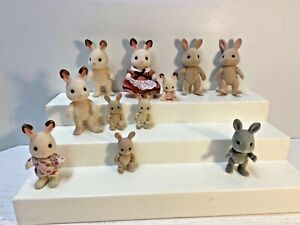 Vintage Calico Critters 1985 EPOCH 11 Rabbits Lot Sylvanian Families 1 Brown