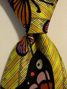 ELECTRIC NECKWEAR Power Ties Silk XL Necktie Designer BUTTERFLIES Yellow/Multi
