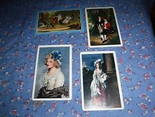 a25. 4 Vintage Swap Playing Cards  Blank Backs  Fancy Ladies  Buggy Horses