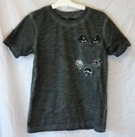 Boys George Grey Black Applique Skull Bird Tiger Patch T-Shirt Age 9-10 Years