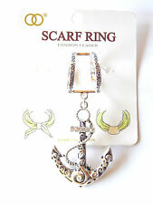 NWT TEXTURED SILVER SCARF RING W/FANCY SILVER ANCHOR PENDANT& RHINESTONE ACCENTS
