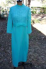 Vintage 50's 60's Aqua Long Midcentury Dress Turquoise 3/4 sleeve 8 10 12