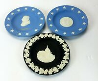 Wedgwood Jasperware Mini Plates Blue & Black Lot of 3 Made in England