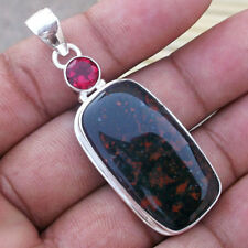 Bloodstone Gemstone, Topaz Solid Handmade Pendant  Ethnic Jewelry PS-041