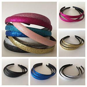 Glitter sparkle alice headband hair band girls ladies mixed & single colours