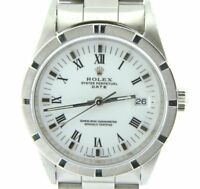 Mens Rolex Date Stainless Steel Watch Oyster Style Band White Roman Dial 15210