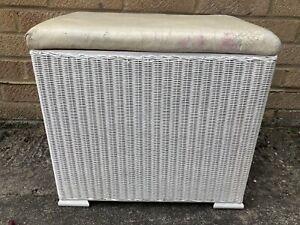 Vintage Lloyd Loom Style Lidded Stool/ Laundry Basket - Needs Re-upholstering