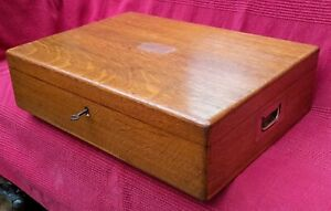 Antique Vintage, Solid Oak Fitted Cutlery Box with original tray and key.