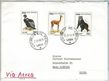 PERU -  POSTAL HISTORY - AIRMAIL COVER to SWITZERLAND  - BIRDS: VOLTURE  1973