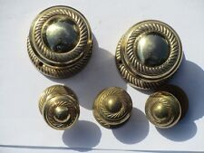 Vintage Set of 5 Solid Brass Georgian Style Door Handles and Plates