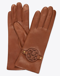 NEW Tory Burch MILLER Leather Gloves in Brown Size 6.5 NWT Women's Winter 46591