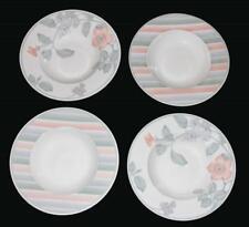 4 VTG Villeroy & Boch ANDANDE Pastel Flowers and Stripes Wide Rim Soup Bowls