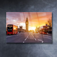 Glass Print Photo LONDON City Great Britain Architecture Double Decker Bus