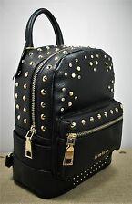Bebe Jett Triangle Backpack Purse Black Faux Leather Gold & Rhinestone Studs #1