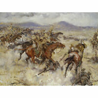 Dugdale Charge 2nd Lancers El Afuli WWI War Painting Large Canvas Art Print