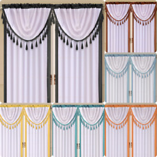 2PC SEMISHEER COLOR-BLOCK BORDER WHITE CENTER WINDOW CURTAIN WATERFALL VALANCE