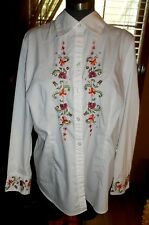 Plus Size 18 LANE BRYANT WOMEN'S White Long Sleeve Button Down Shirt Blouse Top