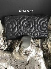 NWT CHANEL 2017 BLACK CAVIAR CAMELLIA LONG ZIP WALLET CLUTCH SILVER SOLDOUT NEW