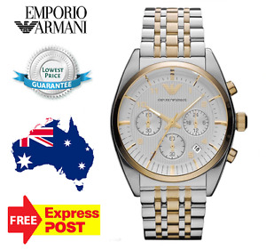 EMPORIO ARMANI AR0396 TWO TONE GOLD CHRONOGRAPH DIAL MEN'S WATCH - NEW WITH TAGS