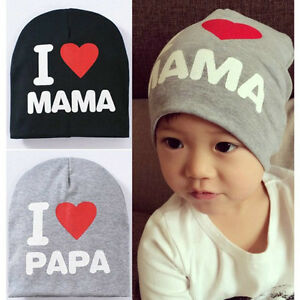 I Love MAMA/PAPA Kids Baby Infant Boy Girl Cute Soft Warm Hat Cap Cotton Beanie