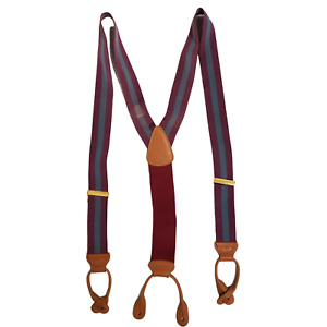 Mens TRAFALGAR Striped Y-Back Button End Suspenders - Blue/Purple G7663