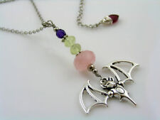 Bat Necklace with Rose Quartz, Fluorite, Crystal and Amethyst, Stainless Steel