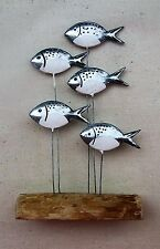 Shoal Of Silver Fish On Driftwood  Decoration  Nautical Coastal