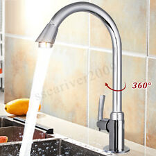 360°Swivel Faucet Stainless Steel Single Lever Spout Kitchen Cold Water Sink
