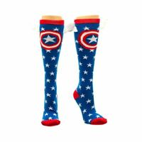 Marvel Captain America Star Knee High Socks with Wings - Avengers One Size