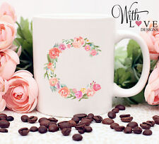 FLORAL FLOWER ANY NAME INITIAL COFFEE MUG TEA CUP PERSONALISED PRESENT GIFT