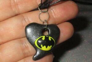 Batman Heart Pendant Black Necklace OOAK bead handmade