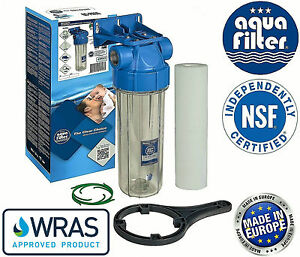 "10"" Aquafilter In-line Water Filter Housing Transparent 3/4"""