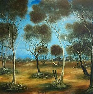 """Kevin Charles (Pro) Hart (1928-2006) """"Bush Landscape Untitled"""" Oil on Board"""