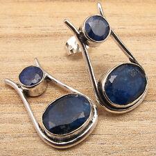 Simulated SAPPHIRE Gems Handmade Jewelry Stud Earrings Blue ! 925 Silver Plated
