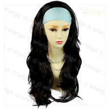 Wiwigs Black Brown Long Layered Wavy 3/4 Fall Hairpiece Half Ladies Wig