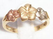 8MM Plumeria Flower 14K MUTI Gold 2.1g 6.75 Ring Hawaiian Hawaii Jewelry