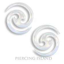 Paar ! Ohrringe Handarbeit Muschel Perlmutt Spiralen 1,5mm Piercing Design 307