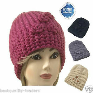 New Ladies and Girls Knitted Beanie Hat with Rose One Size