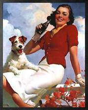 Coca-Cola: Lady and her Dog. Framed Vintage 50s Pin-Up Style AD Poster. Black