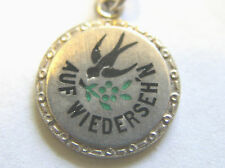 Vintage German Silver Enamel Swallow Forget Me Not Charm 'Til We Meet Again