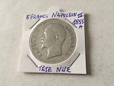 piece de 5 francs en argent Napoléon III 1855 A Tête Nue TTB