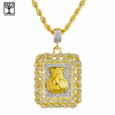"Gold Plated Iced Out MONEY Bag Pendant 26"" Heavy Rope Chain Necklace NA 0126 G"